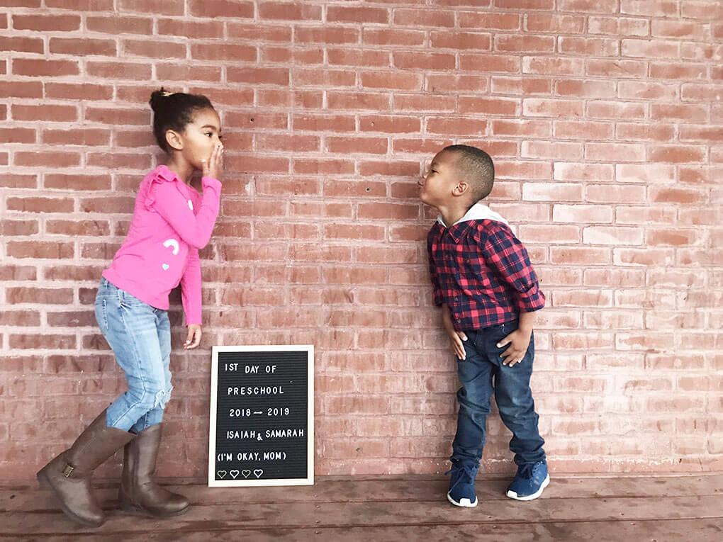 Preschool Mom www.sarahkayhoffman.com Samarah and Isaiah first day #preschool #lifestyleblogger #firstdayofschool