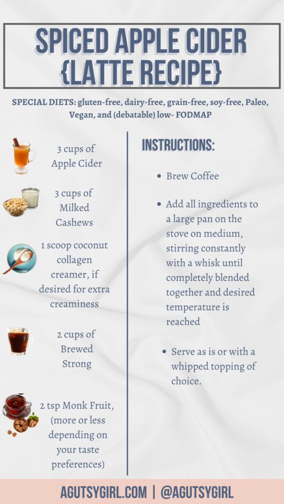 Spiced Apple Cider latte recipe ingredients dairy free agutsygirl.com #applecider #latterecipe #dairyfreerecipes