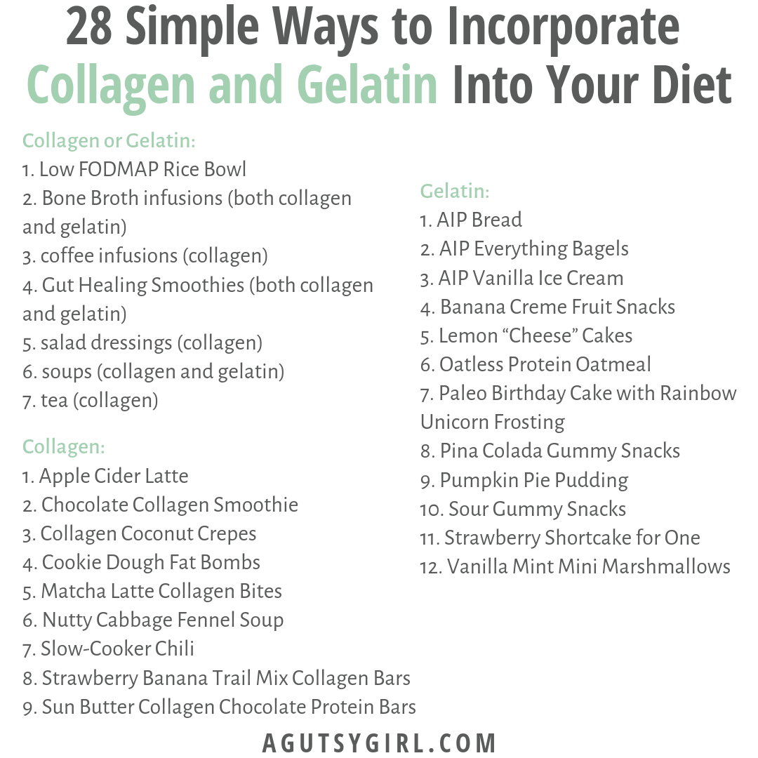 28 Simple Ways to Incorporate Collagen and Gelatin into Your Diet agutsygirl.com #collagen #gelatin #guthealth