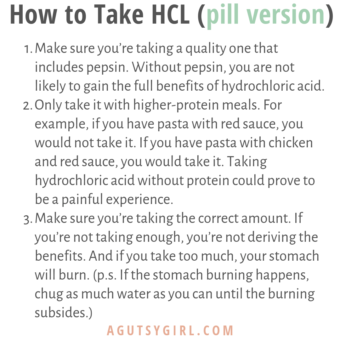 All About HCL how to take it agutsygirl.com #hcl #supplements #guthealth #stomachacid