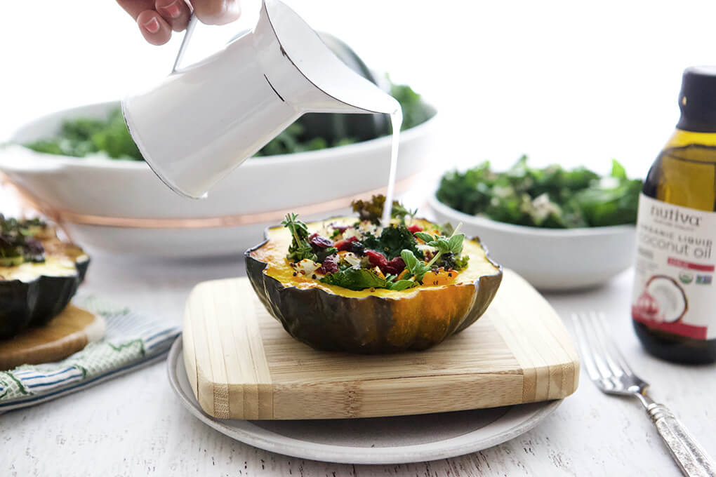 Gluten Free Recipe Roundup Eight www.sarahkayhoffman.com #glutenfree #glutenfreerecipes #recipe #dairyfree #healthyliving Quinoa Stuffed Acorn Squash Boats #vegan