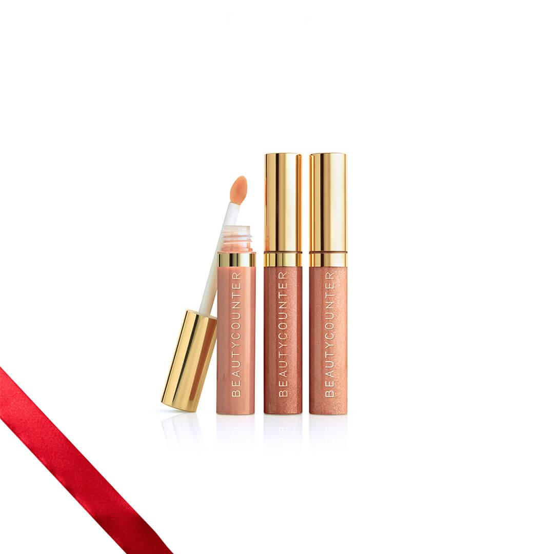 Holiday Makeup 2018 Beautycounter Skincare www.sarahkayhoffman.com #makeup #beautycounter #betterbeauty #lipgloss #holidaygifts Nudes Lip Gloss Trio