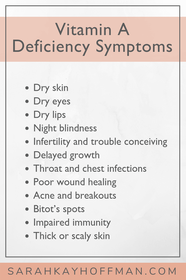 Vitamin A Deficiency Symptoms www.sarahkayhoffman.com #vitamins #healthyliving #guthealth #SIBO