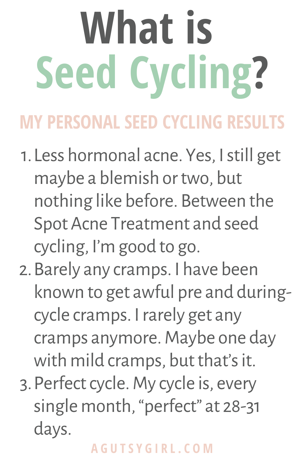 What is Seed Cycling agutsygirl.com #seedcycling #seeds #guthealth #hormones results
