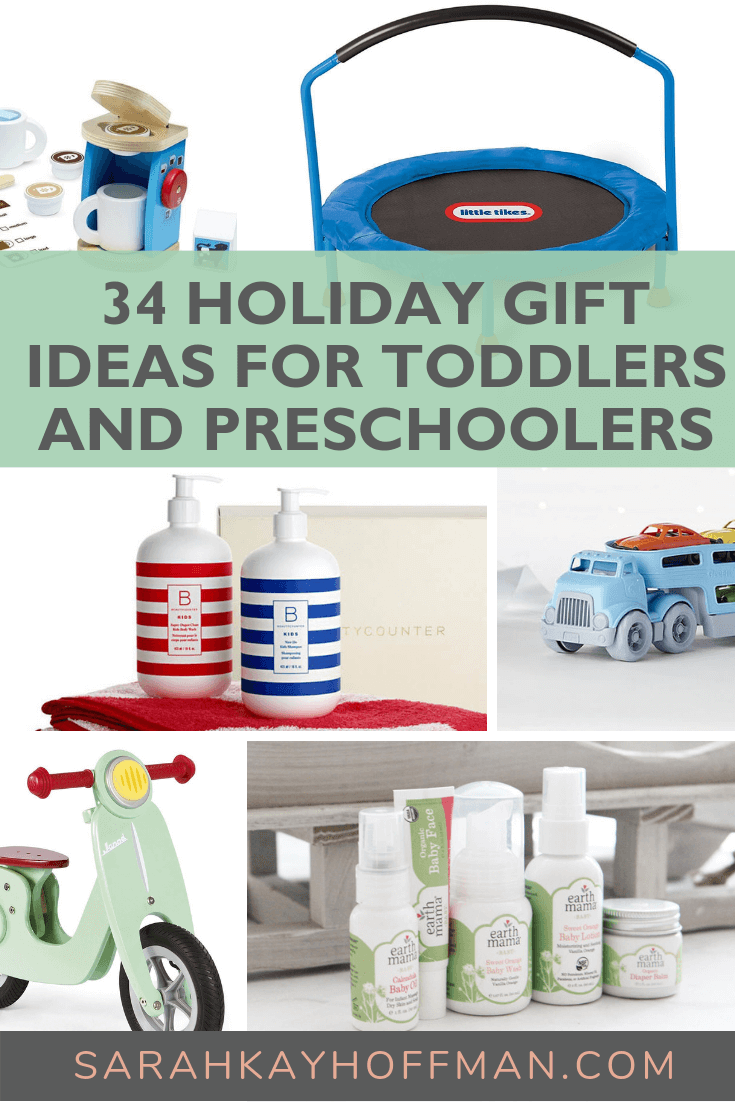 34 Holiday Gift Ideas for Babies and Toddlers www.sarahkayhoffman.com #holidaygift #toddler #gifts #toddlers