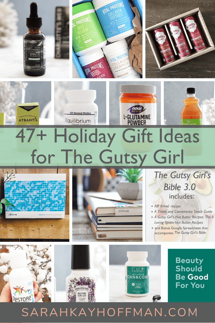 A Gutsy Girl Holiday 2018 Gut Health Wish List www.sarahkayhoffman.com 47 plus more holiday gut health gift ideas #holiday #guthealth #guthealing #holidaygift #gift