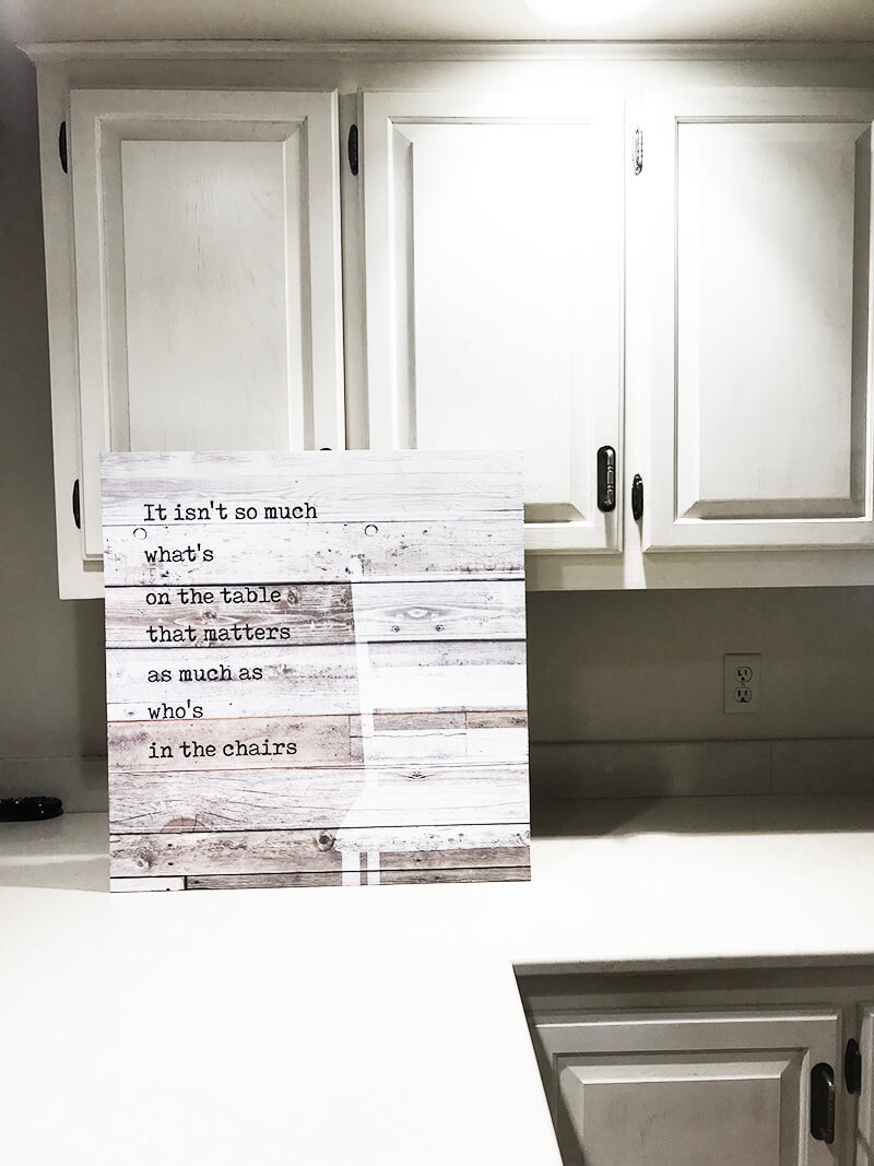 Home www.sarahkayhoffman.com new house sign kitchen table quote #lifestyleblogger #farmhousestyle #homedecor