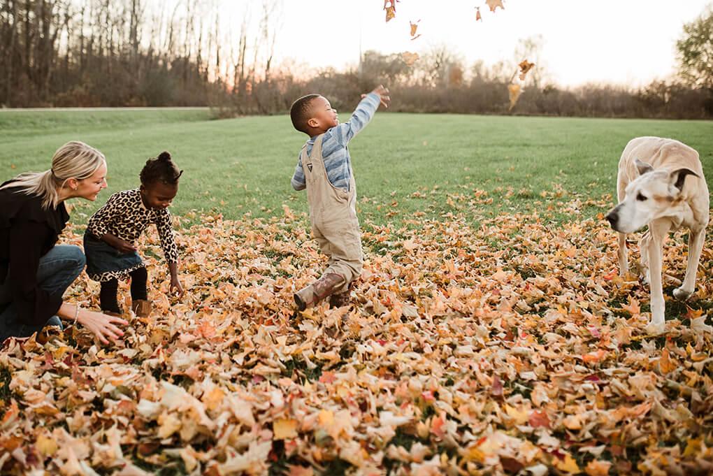 This is Us www.sarahkayhoffman.com #adoption #fostercareadoption #adopt #lifestyleblogger SKH, Amiya, Isaiah, Reagan, leaves