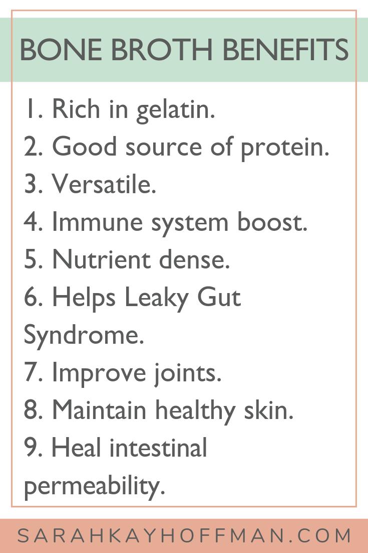 Bone Broth Benefits www.sarahkayhoffman.com #guthealth #bonebroth #guthealing #StayVital
