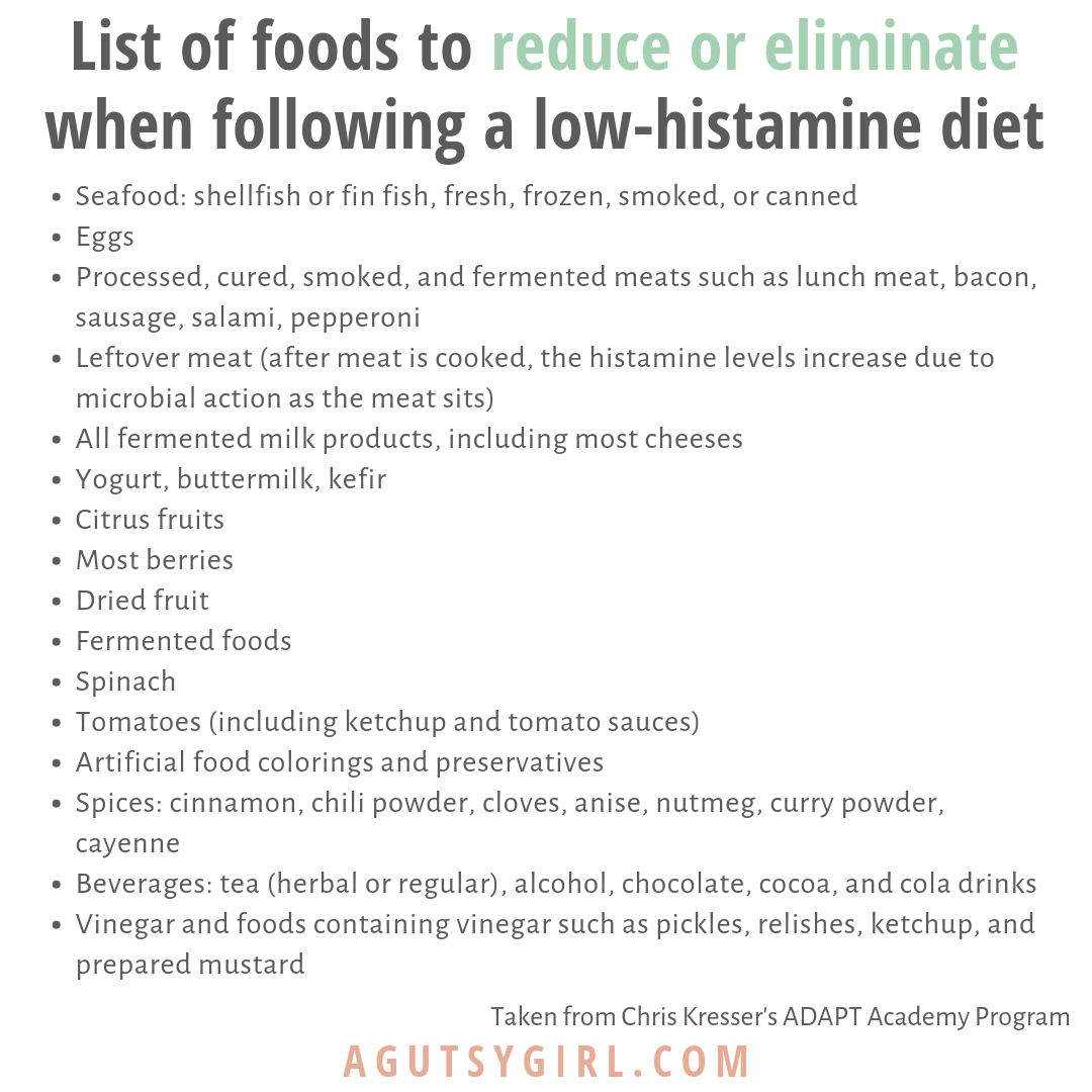 Foods to Avoid on Low Histamine Diet agutsygirl.com #histamine #histaminefree #guthealth