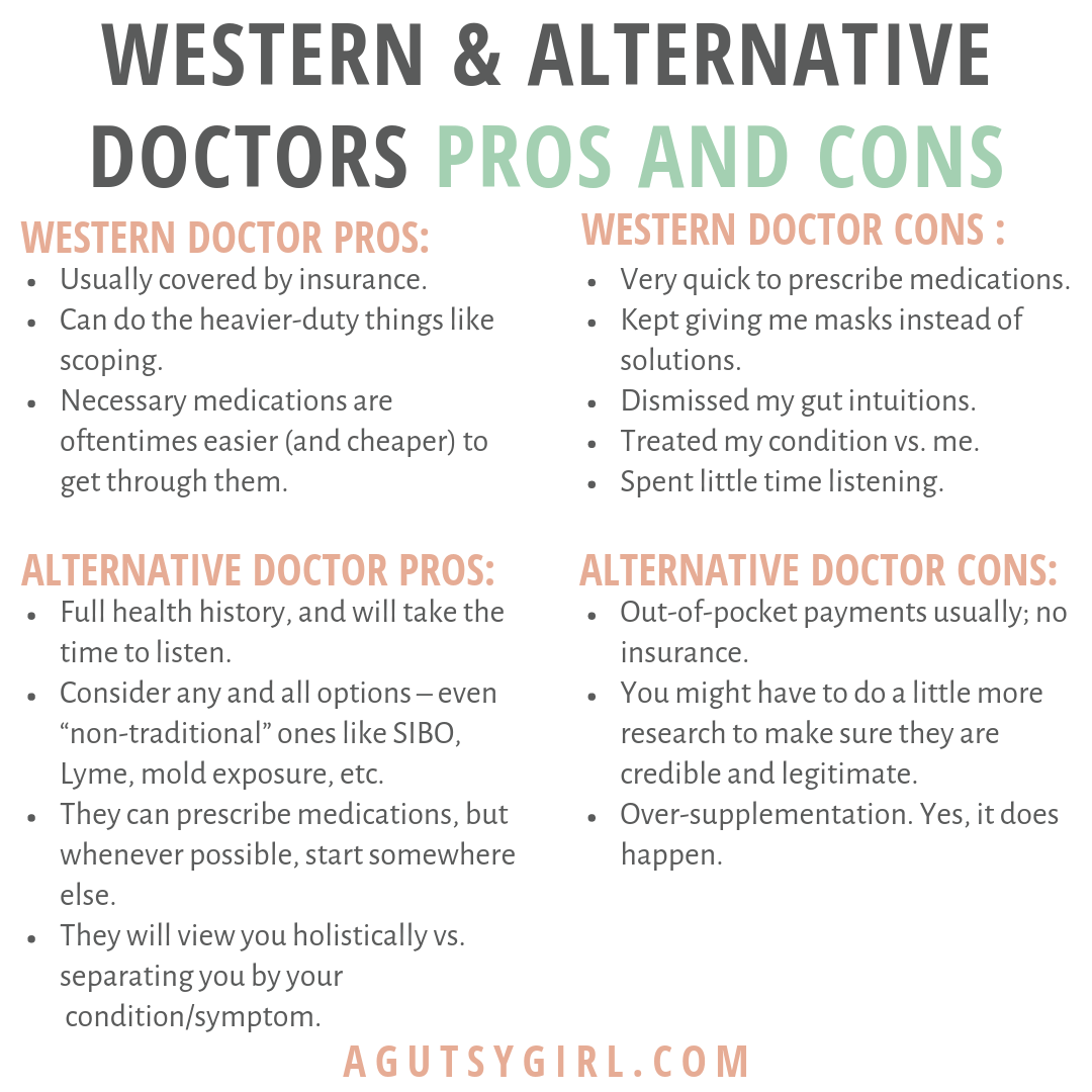 Western & Alternative Doctors Pros and Cons agutsygirl.com Beginner's Guide #ibs #ibd #SIBO #guthealth