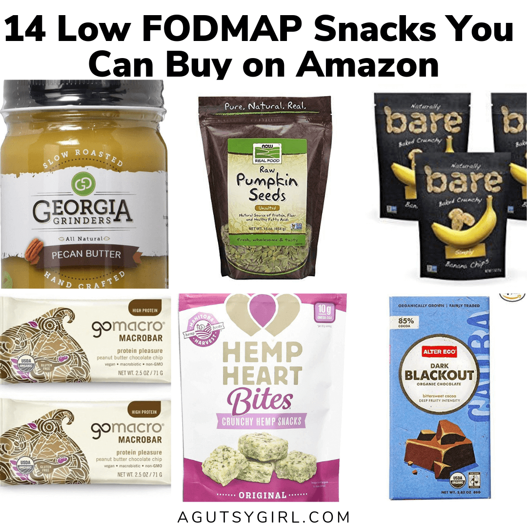 14 Low FODMAP Snacks You Can Buy on Amazon agutsygirl.com #healthyliving #healthysnacks #lowfodmap #whole30