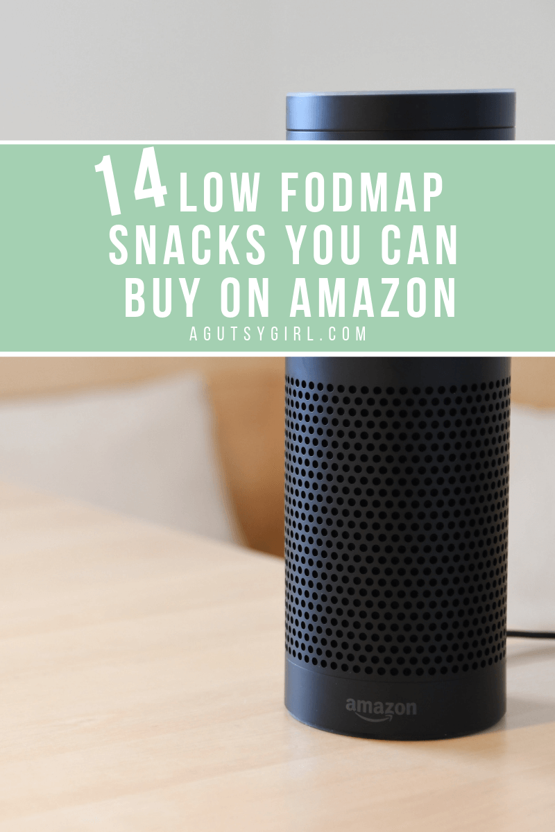 14 Low FODMAP Snacks You Can Buy on Amazon agutsygirl.com #lowfodmap #fodmap #ibs #snacks #amazonprime