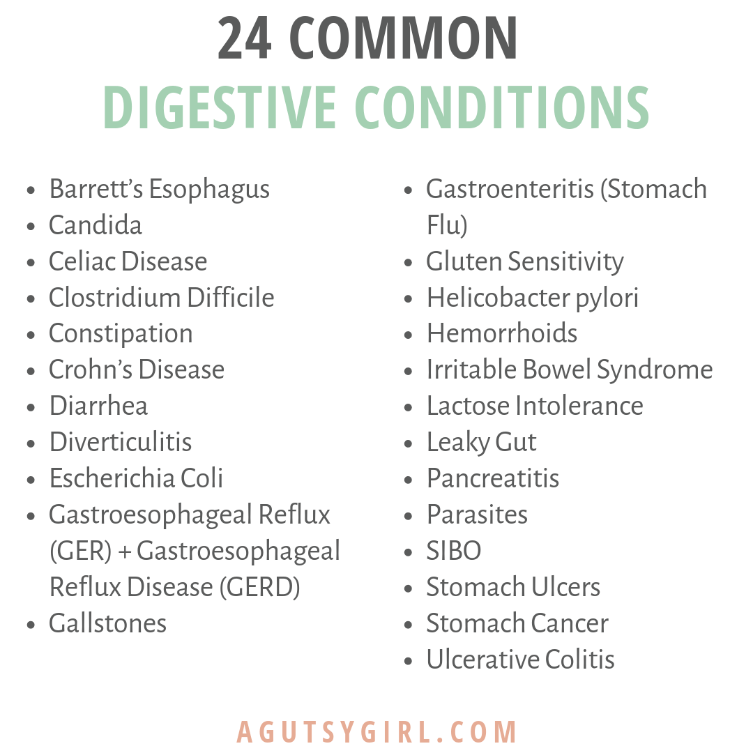 Complete List of Common Digestive Conditions 24 agutsygirl.com #ibs #guthealth #digestion #healthyliving