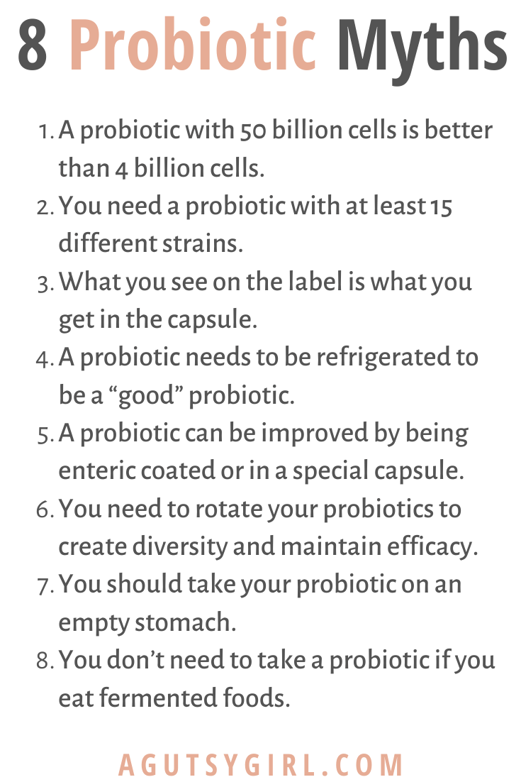 8 Probiotic Myths probiotics agutsygirl.com #probiotic #probiotics #supplement