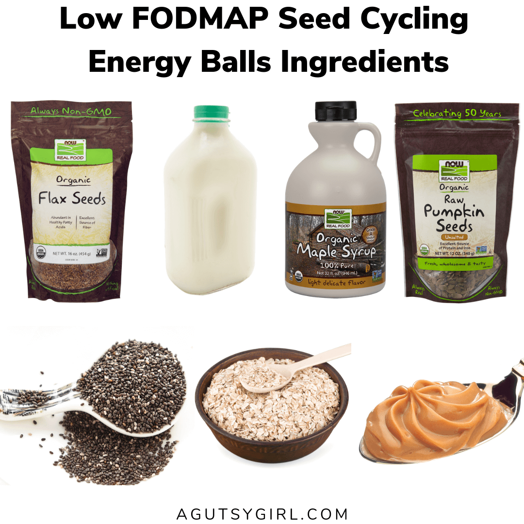 Low FODMAP Seed Cycling Energy Balls agutsygirl.com #seedcycling #lowfodmap #glutenfree #guthealth ingredients