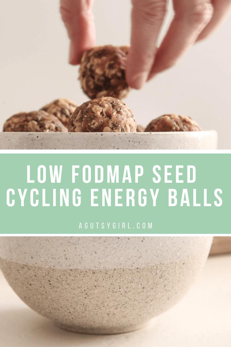 Low FODMAP Seed Cycling Energy Balls agutsygirl.com #seedcycling #lowfodmap #glutenfree #guthealth