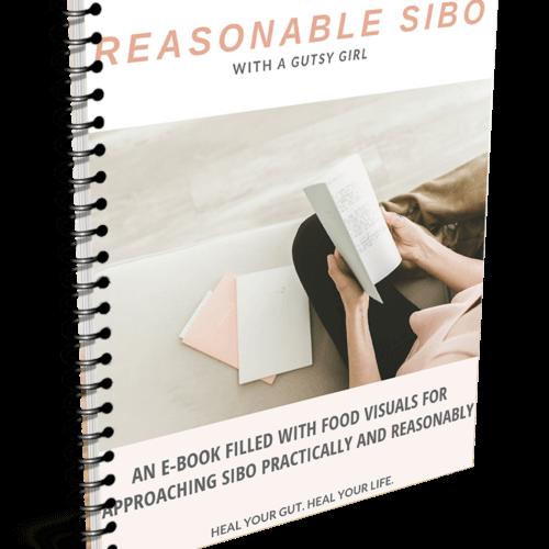 Reasonable SIBO ebook from A Gutsy Girl agutsygirl.com #sibo #guthealth #ebook #guthealing