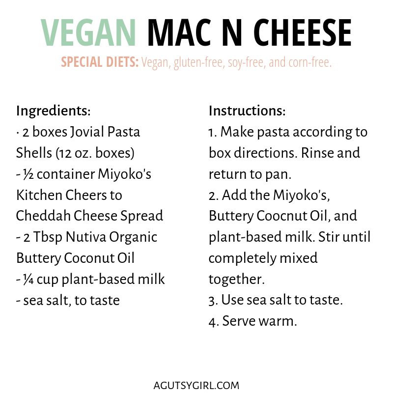 Best Vegan Mac N Cheese gluten free agutsygirl.com ingredients #veganrecipes #dairyfreerecipes #macncheese