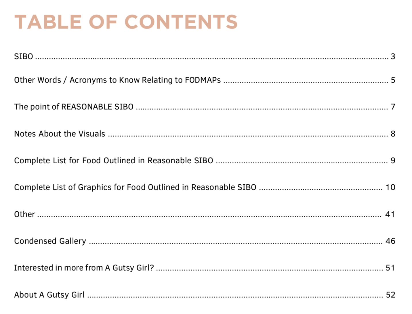 Reasonable_SIBO_eBook table of contents Reasonable SIBO low fodmap e-book agutsygirl.com #guthealth #ibs #sibo #healthyliving