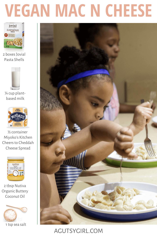 Vegan Mac 'n Cheese agutsygirl.com dairy free gluten free #guthealth #veganmacncheese #kidsrecipes