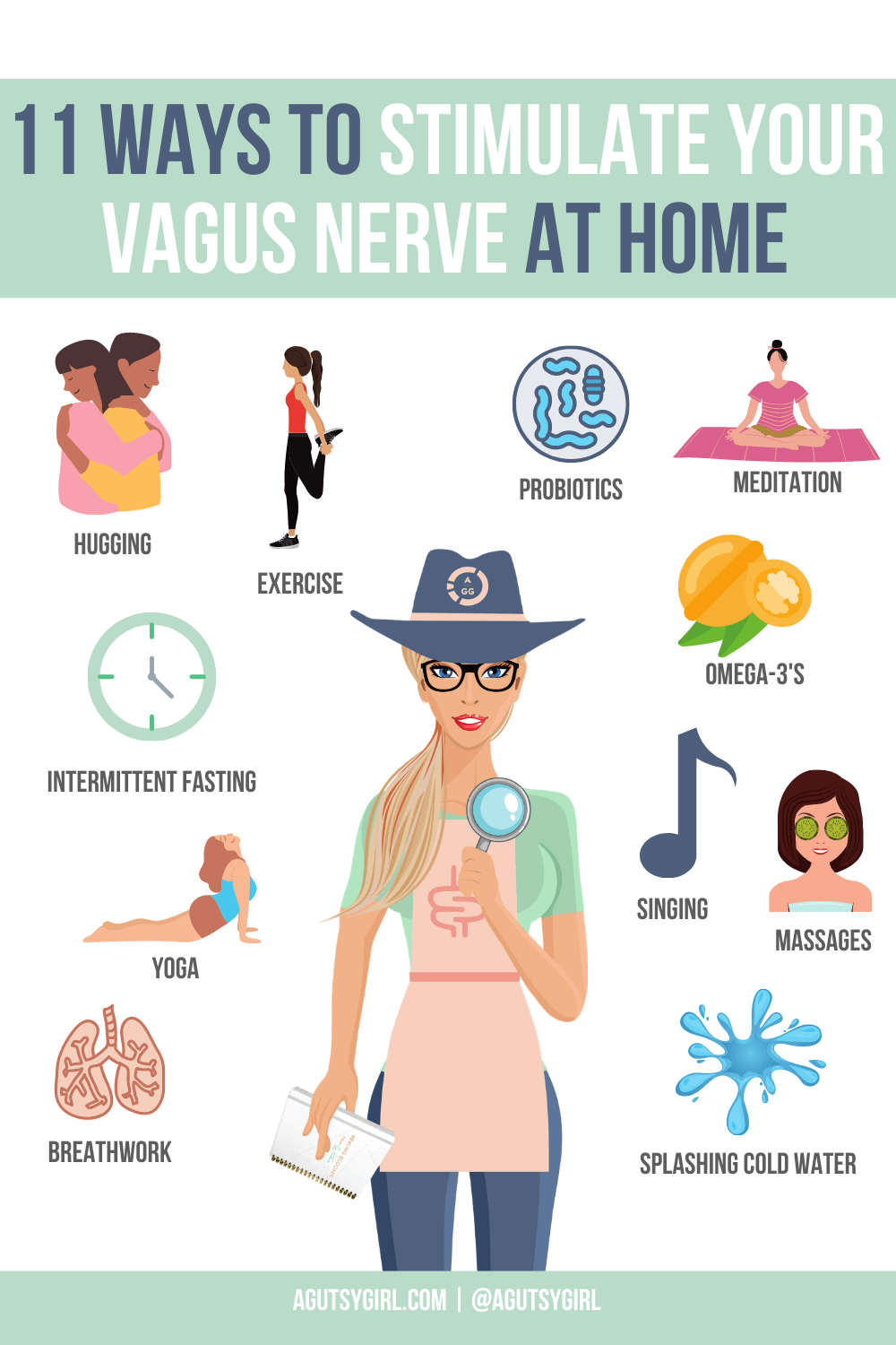 11 Ways to Stimulate the Vagus Nerve at Home with A Gutsy Girl agutsygirl.com #vagusnerve #guthealth #stress