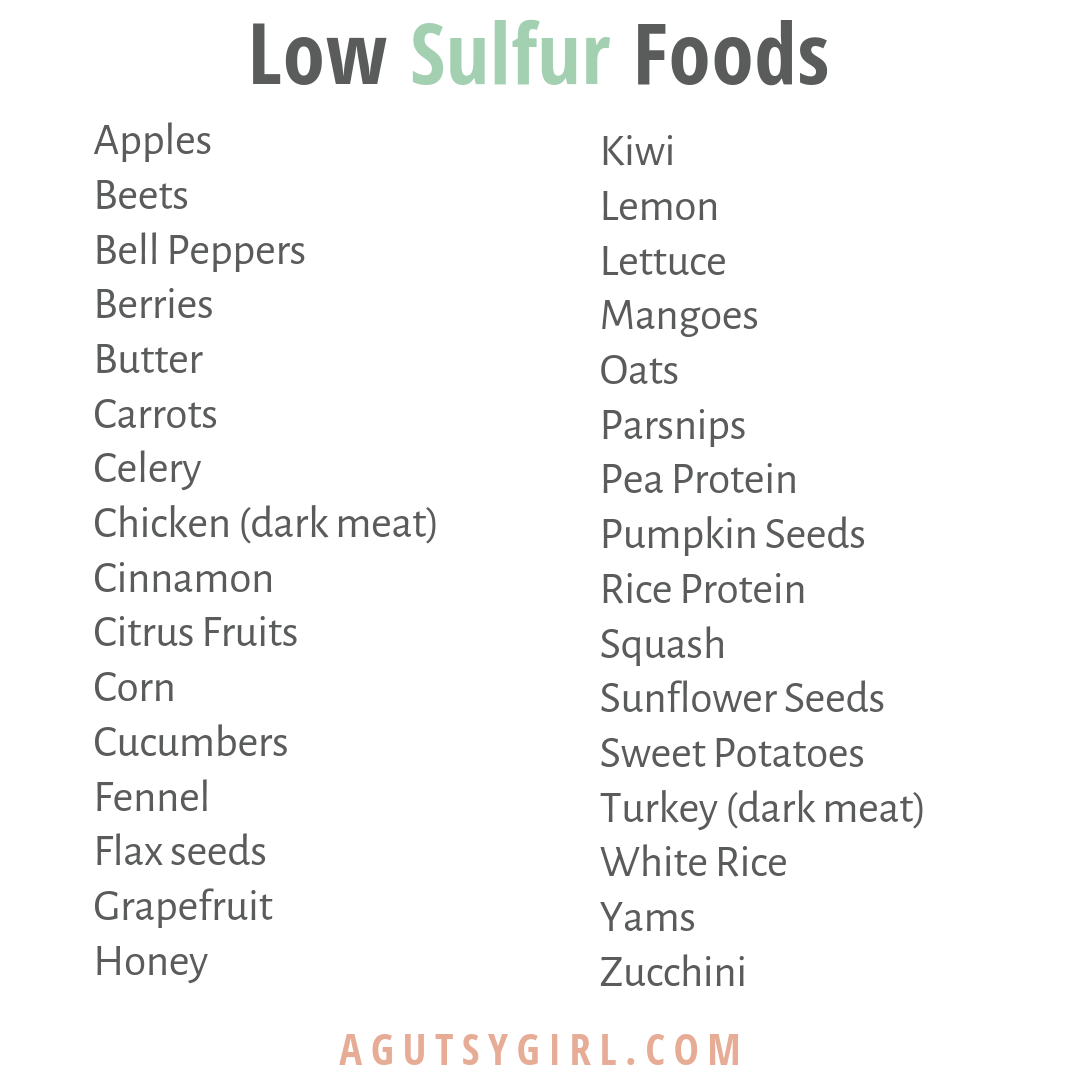 Do You Smell Like Rotten Eggs agutsygirl.com A Gutsy Girl SIBO #guthealth #ibs #sibo Low Sulfur food list
