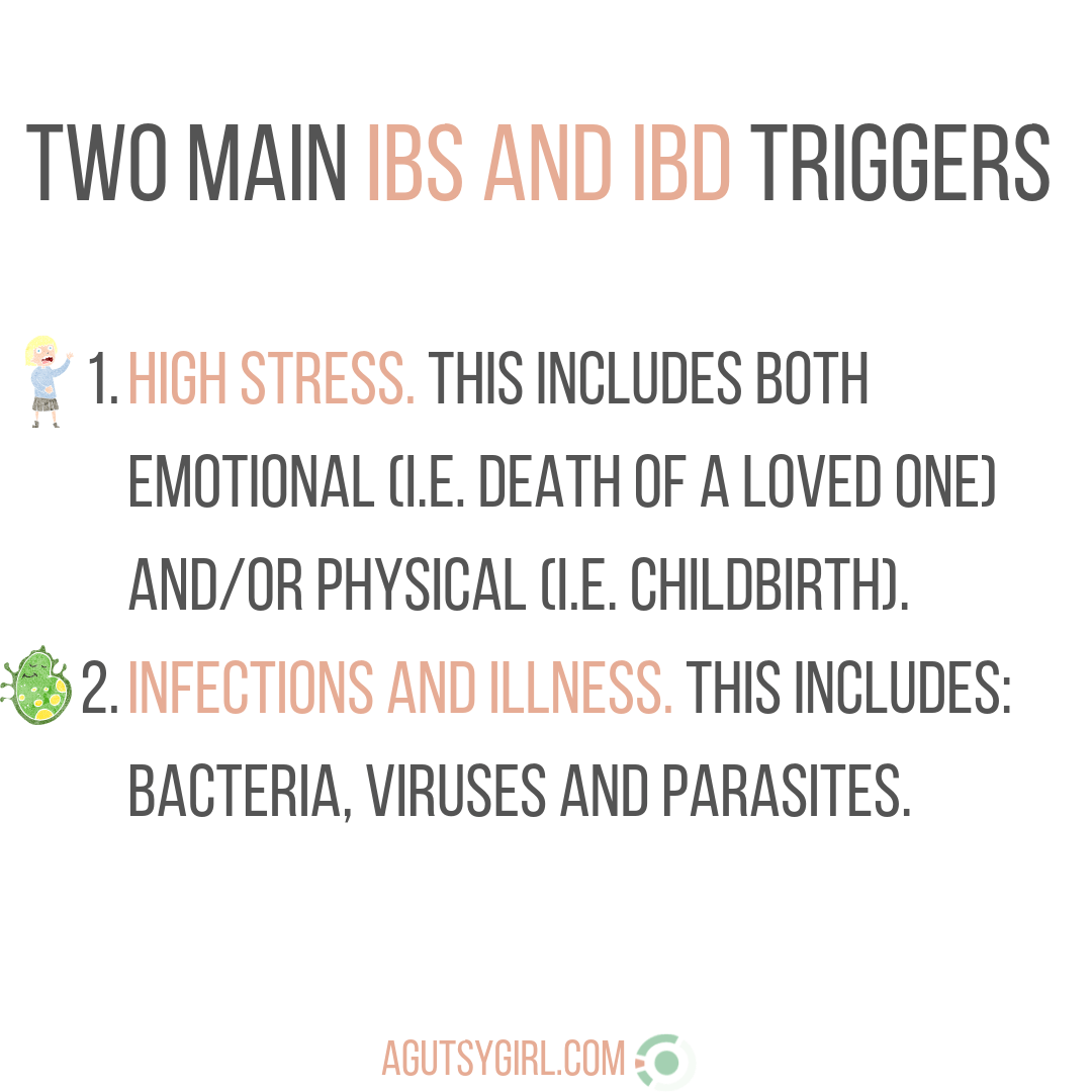 IG Two Main IBS and IBD Triggers agutsygirl.com #guthealth #IBS #stress #autoimmune