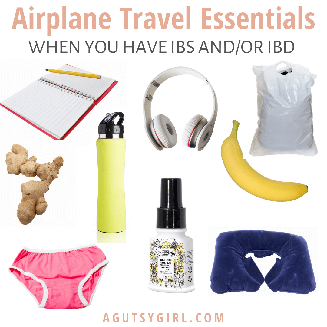 Airplane Travel Essentials agutsygirl.com #travel #ibs #guthealth IBS