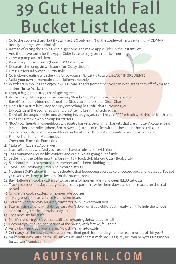 39 Gut Health Fall Bucket List Ideas agutsygirl.com #bucketlist #fall #healthyliving #guthealth