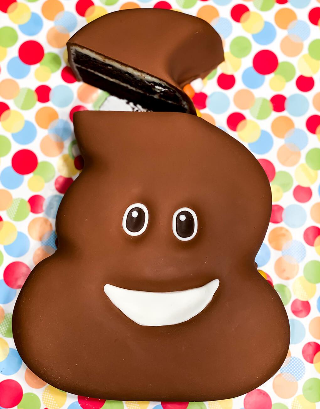 Emoji Poop Cake Party agutsygirl.com #emojis #poop #leakygut #bookrelease gluten free cake Urban Nomad Bakery Ashley Baker