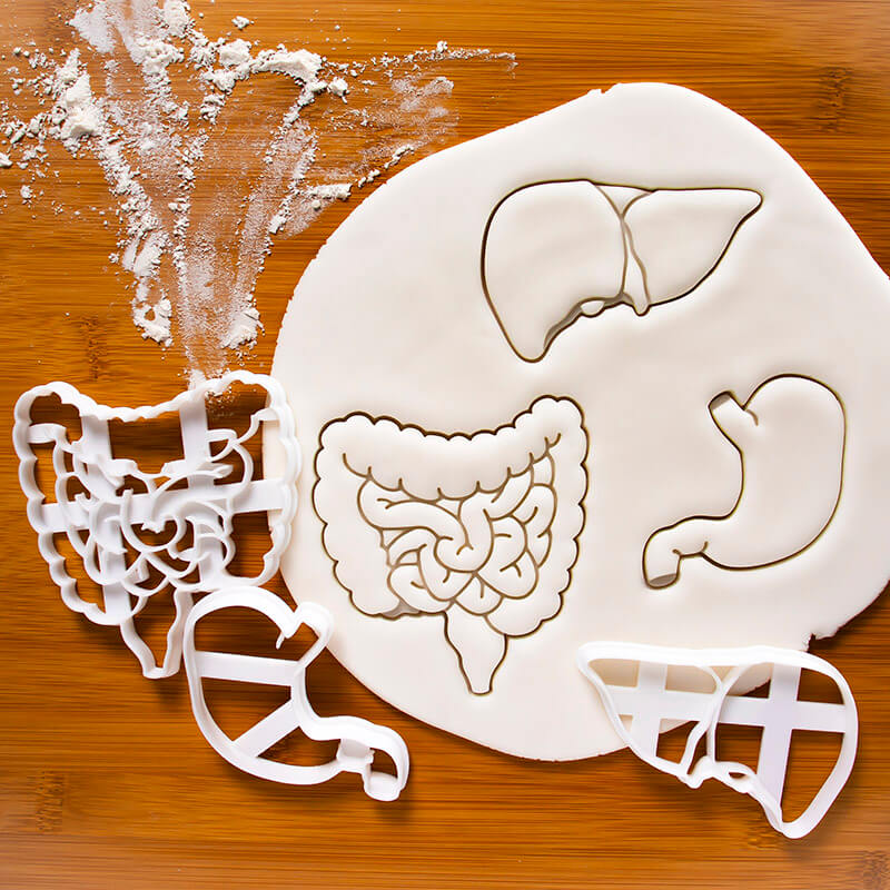 A Gutsy Girl Holiday 2019 Gut Wish List Anatomical Stomach Liver and Intestines cookie cutters Etsy agutsygirl.com #guthealth #holidaygifts #etsy