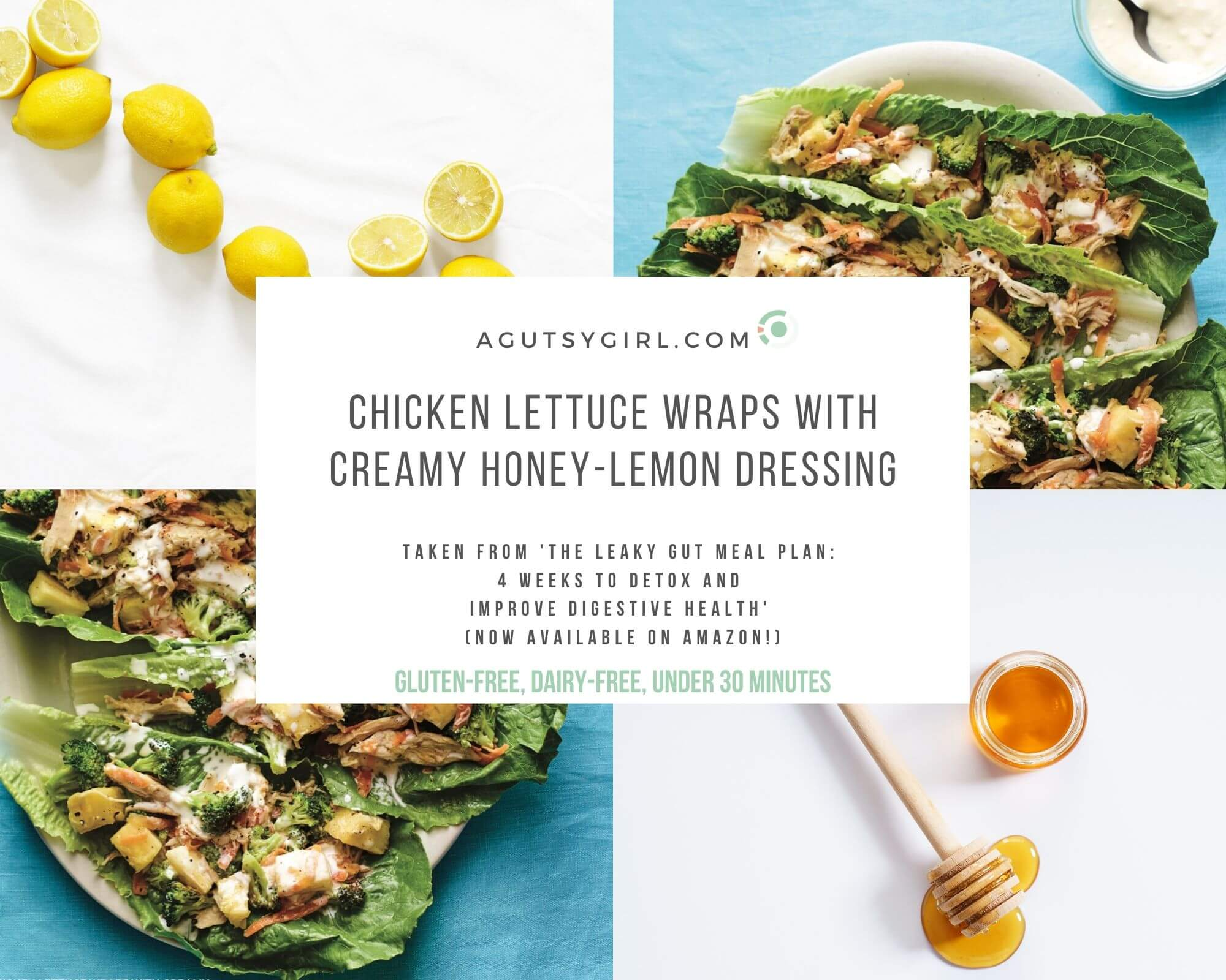 Chicken Lettuce Wraps with Creamy Honey-Lemon Dressing agutsygirl.com Callisto Leaky Gut Meal Plan book #leakygut #dairyfree #paleo #lettucewrap