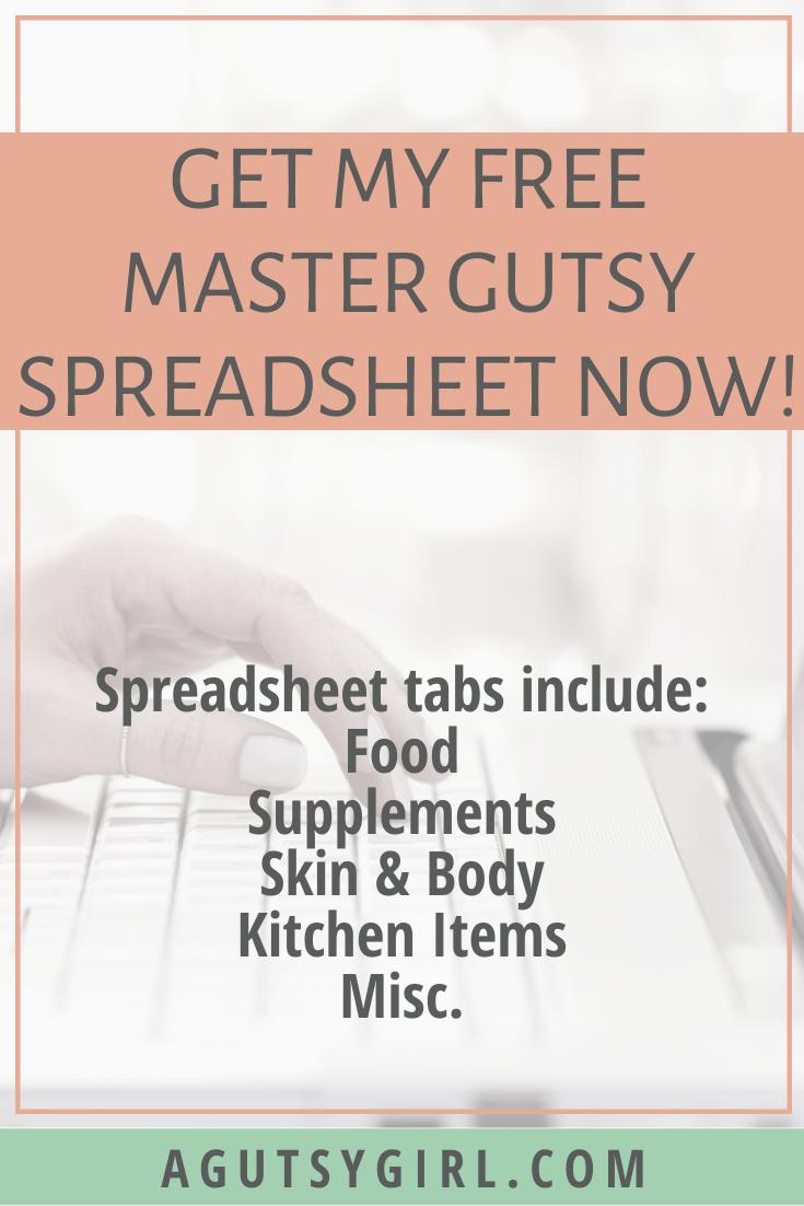 Master Gutsy Spreadsheet gut health supplements review agutsygirl.com #guthealth #healthyliving #freeresource #ibs