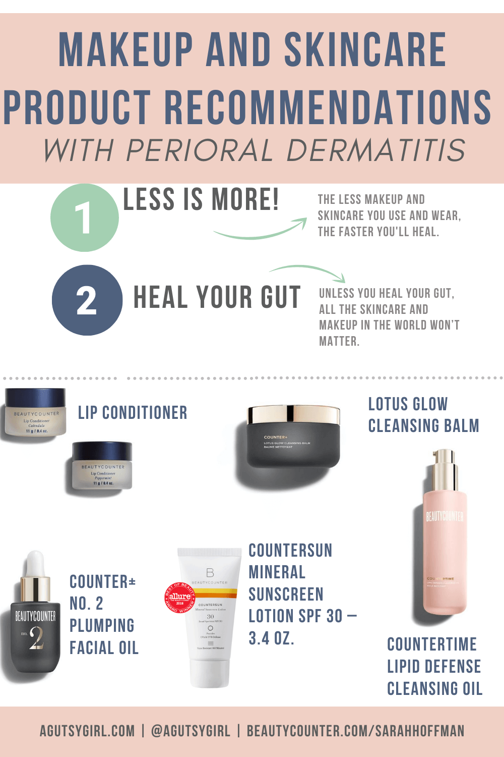 Skincare and Makeup in Leaky Gut Associated Dermatitis products to use agutsygirl.com #skincare #acne #makeup #perioraldermatitis