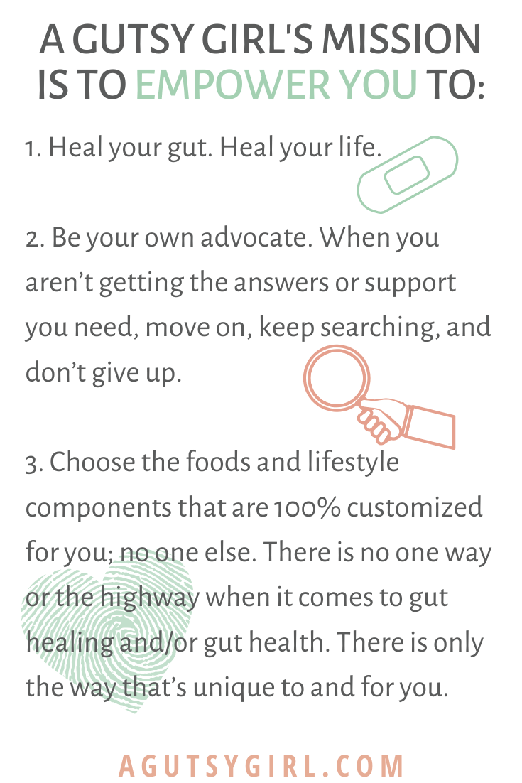 A Gutsy Girl Mission page agutsygirl.com gut health healing #guthealth #mompreneur #business