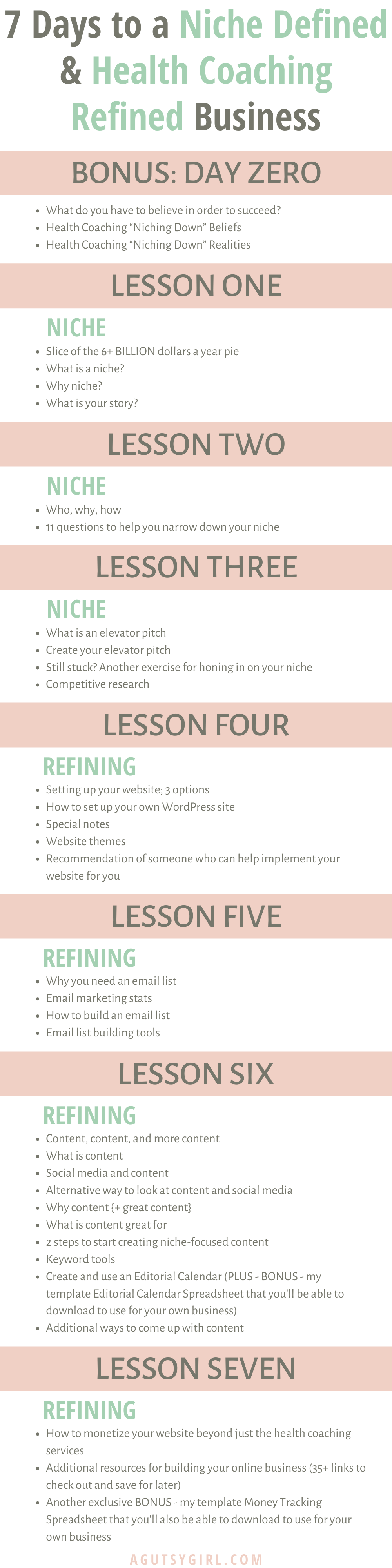 7 Days to a Niche Defined and Health Coaching Refined Business agutsygirl.com #healthcoaching #iin #onlinebusiness
