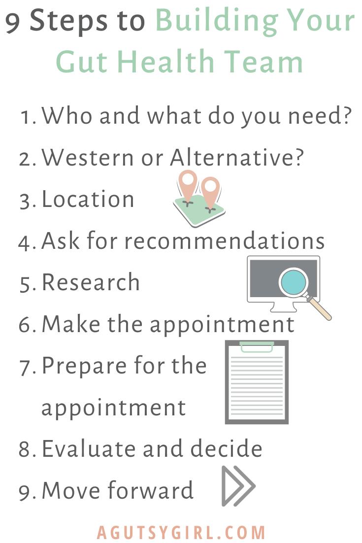 9 Steps to Building Your Gut Healing Team agutsygirl.com #guthealth #gut #bestdoctors #healthyliving