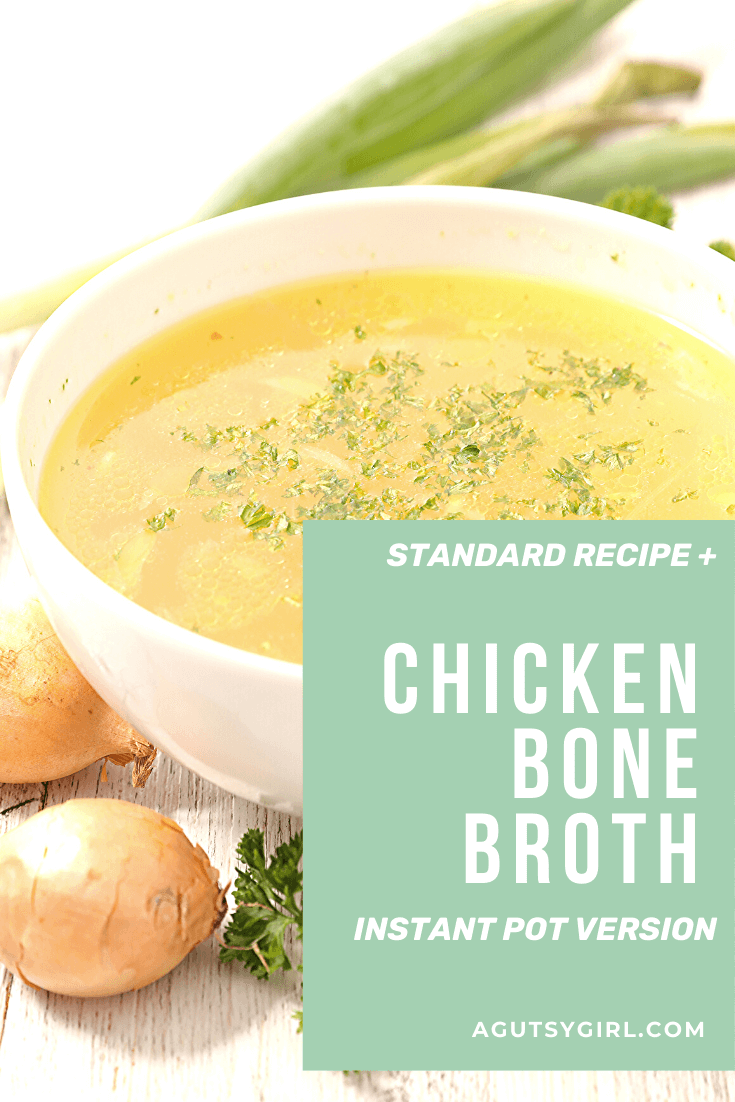 Chicken Bone Broth recipe from The Leaky Gut Meal Plan #bonebroth #chickenbroth #guthealth