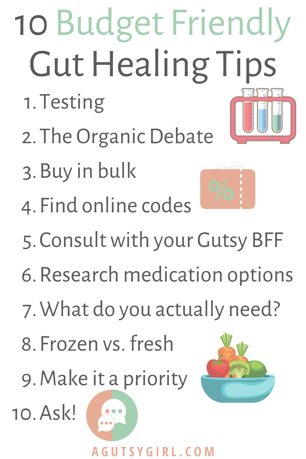 10 Budget Friendly Gut Healing Tips agutsygirl.com #guthealth #guthealing #budgeting #groceryshopping