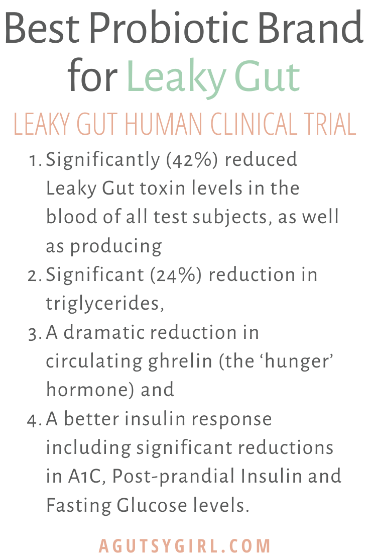 Best Probiotic Brand for Leaky Gut clinical trial Just Thrive agutsygirl.com #probiotic #probiotics #supplements #guthealth #leakygut