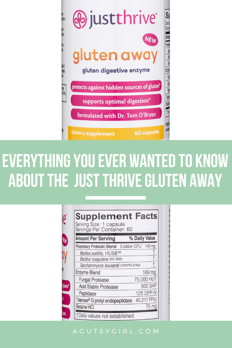 Everything You Ever Wanted to Know About the Just Thrive Gluten Away product agutsygirl.com #gluten #celiac #glutenfree #leakygut