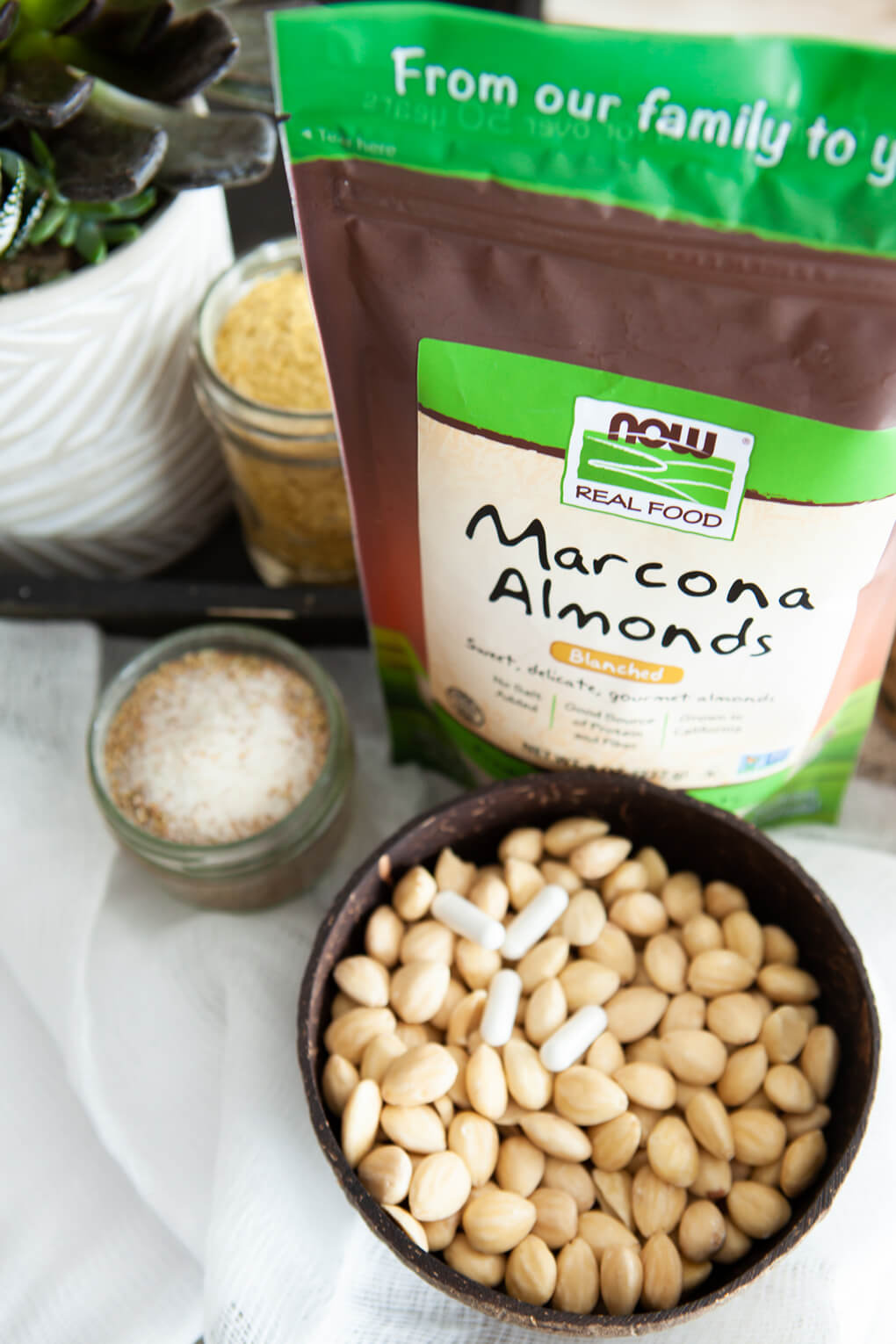 Probiotic Vegan Cheese agutsygirl.com #probiotic #guthealth #vegancheese #veganrecipes 5 ingredient recipe NOW Foods Marcona Almonds