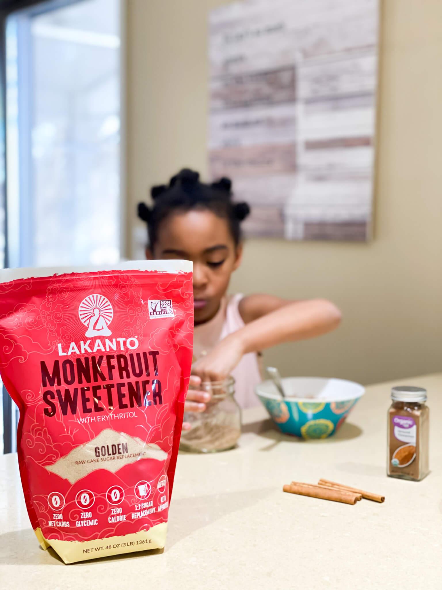 2-Ingredient No Sugar Cinnamon Sugar agutsygirl.com #nosugar #monkfruit #healthyliving #guthealth #cinnamonsugar Lakanto Samarah