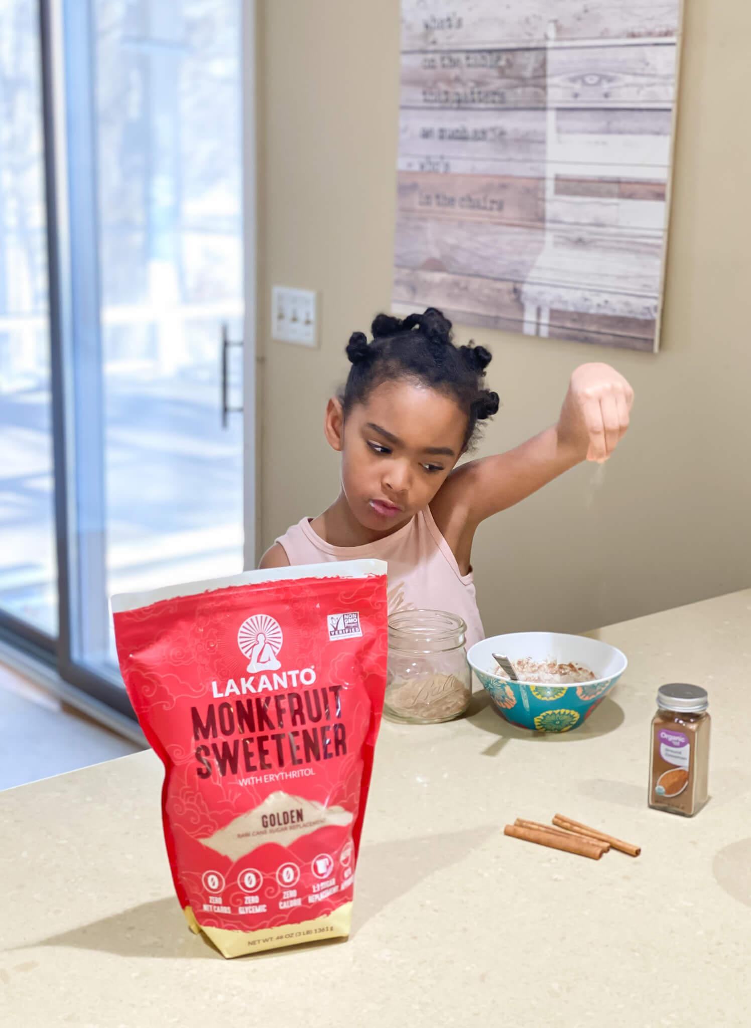 2-Ingredient No Sugar Cinnamon Sugar agutsygirl.com #nosugar #monkfruit #healthyliving #guthealth #cinnamonsugar Samarah Lakanto