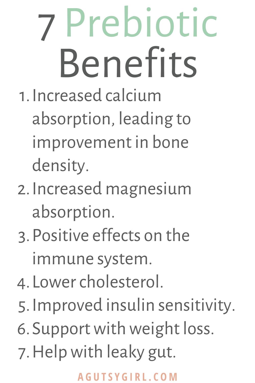 All About Prebiotics agutsygirl.com #prebiotic #prebiotics #guthealth #healthyliving 7 prebiotic benefits
