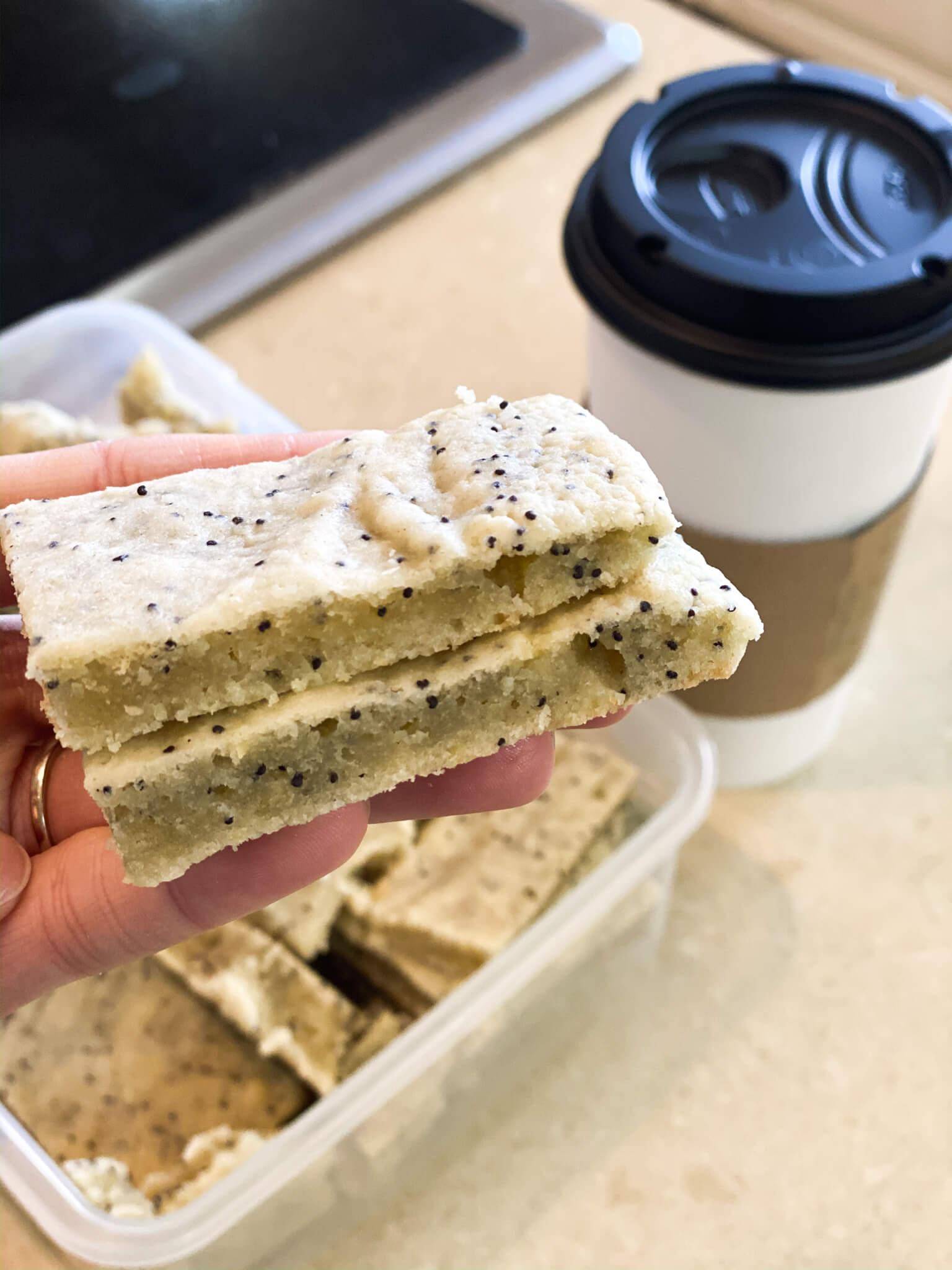Gluten and Dairy-Free Almond Poppy Seed Sheet Cake Recipe agutsygirl.com #glutenfreerecipe #dairyfreerecipe #glutenfreedairyfree #poppyseed TRIO coffee