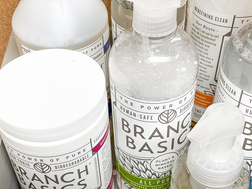 Healthy Cleaning for a Healthy Gut agutsygirl.com #nontoxicliving #nontoxiccleaning #healthyliving #DIY Branch Basics Bathroom Cleaner Starter Kit Oxygen
