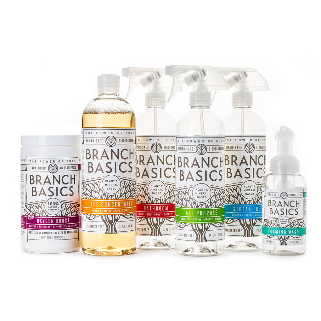 Healthy Cleaning for a Healthy Gut agutsygirl.com #nontoxicliving #nontoxiccleaning #healthyliving #DIY Branch Basics Bathroom Cleaner Starter Kit and Oxygen Boost non-toxic