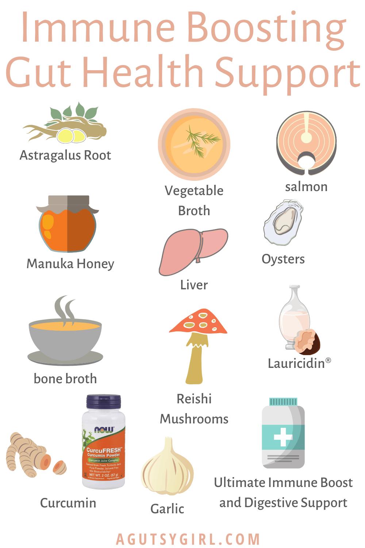 Immune Boosting Gut Health Support agutsygirl.com #guthealth #immunesystem #gut foods info